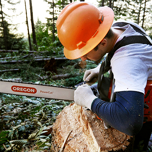 Man using chainsaw with PowerCut Guide Bar