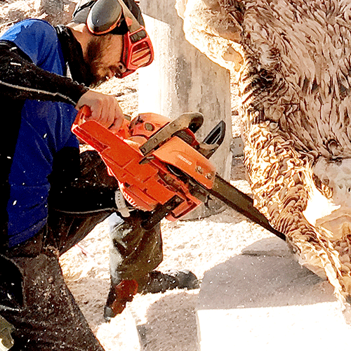 Man carving a pig using a chainsaw with a Sculptor Guide Bar